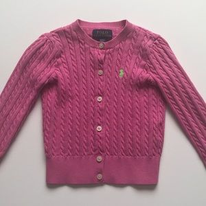 Polo Ralph Lauren pink cable knit cardigan 4T